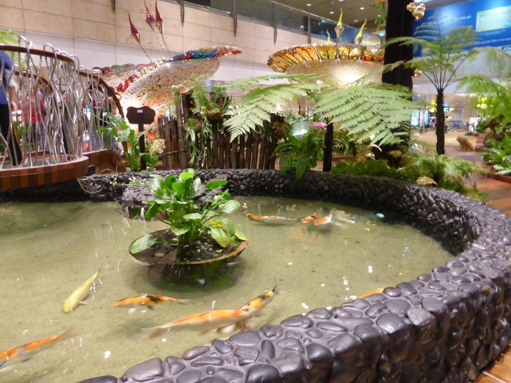 Koi-Becken auf dem Abflughafen Singapur Changi