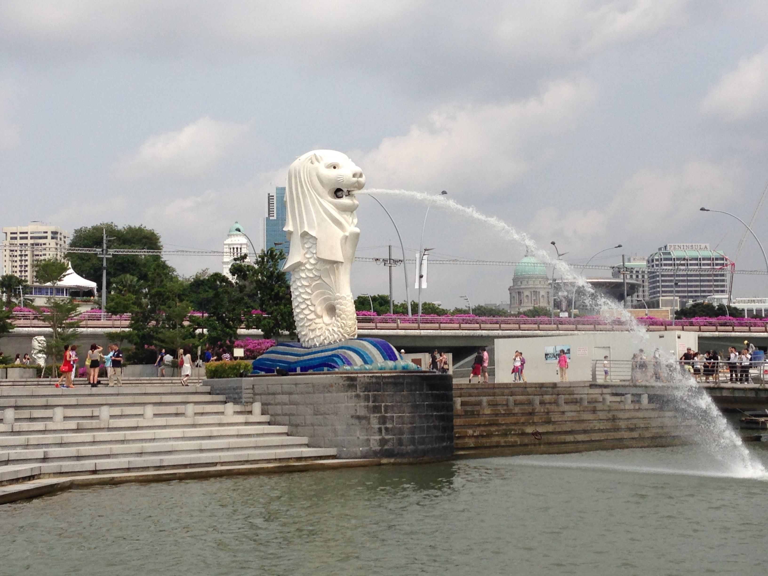 Die Merlion Statue in Singapur