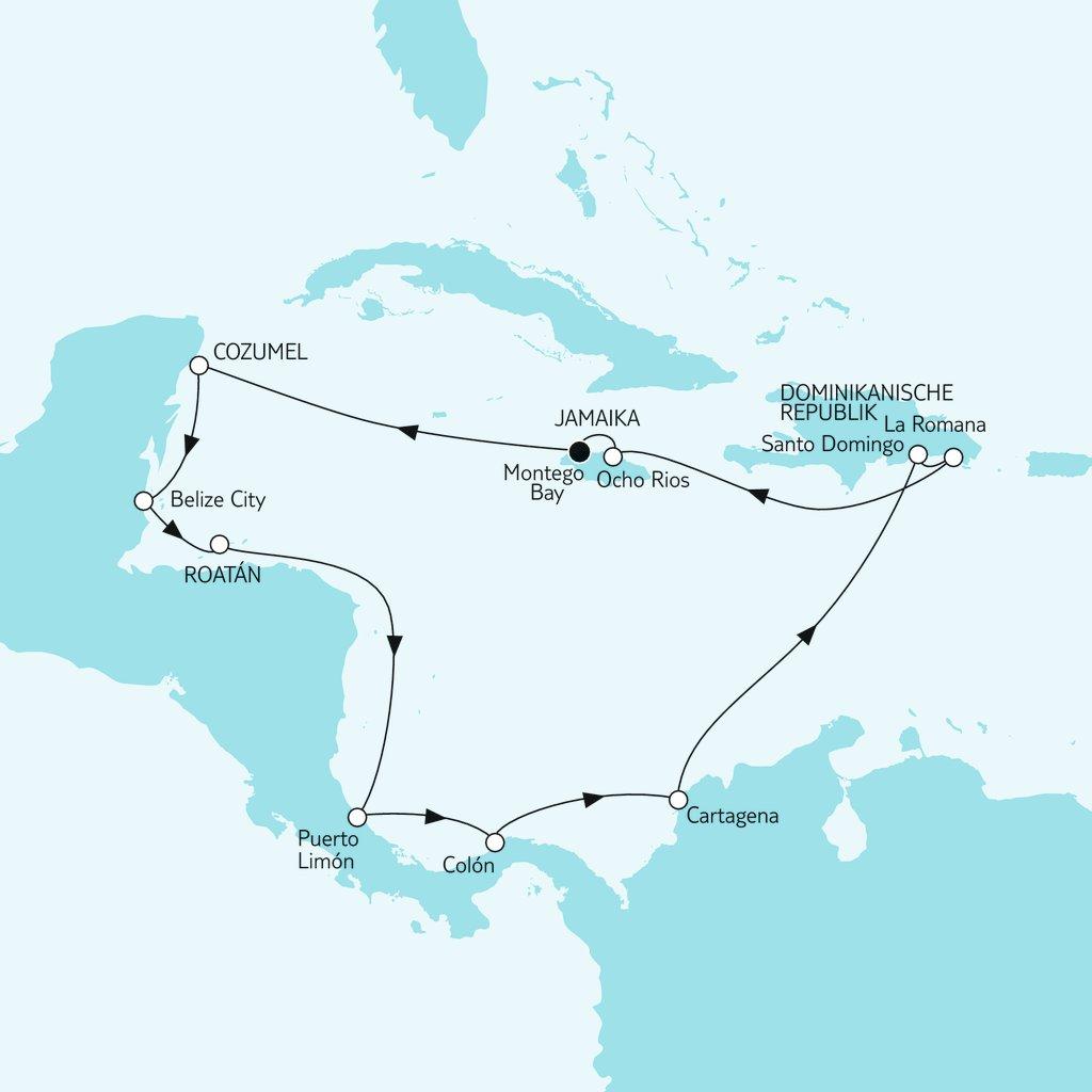 Routenkarte Mittelamerika