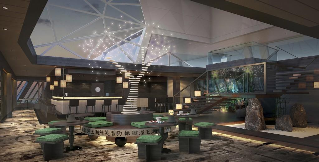 Design-Highlight des Hanami - by Tim Raue auf der Mein Schiff 5: Der Origami-Kirschbaum