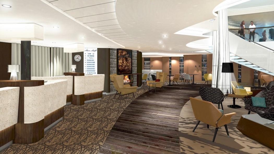 Der Rezeptionsbereich der Mein Schiff 5 mit Nespresso Bar und Thalia Leselounge
