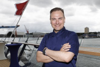 Prominenter Mein Schiff 5 Taufgast: Tim Raue (Photo by Franziska Krug/Getty Images for TUI Cruises)