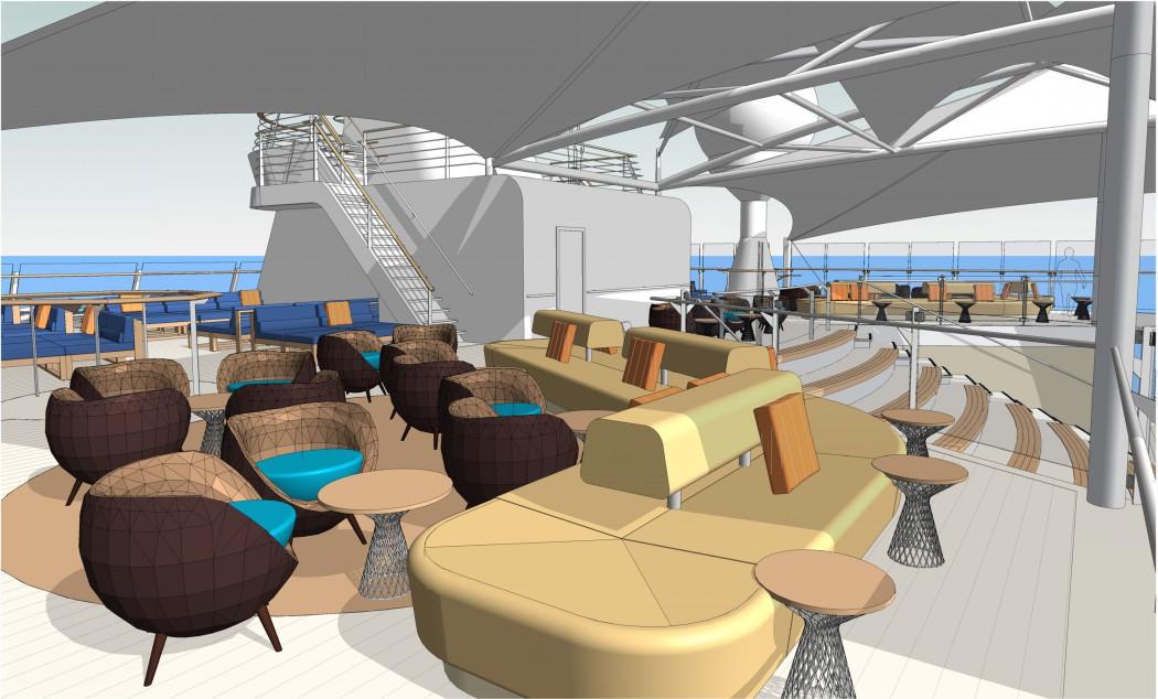 Neuer Lounge Bereich auf Deck 15 der Mein Schiff 6