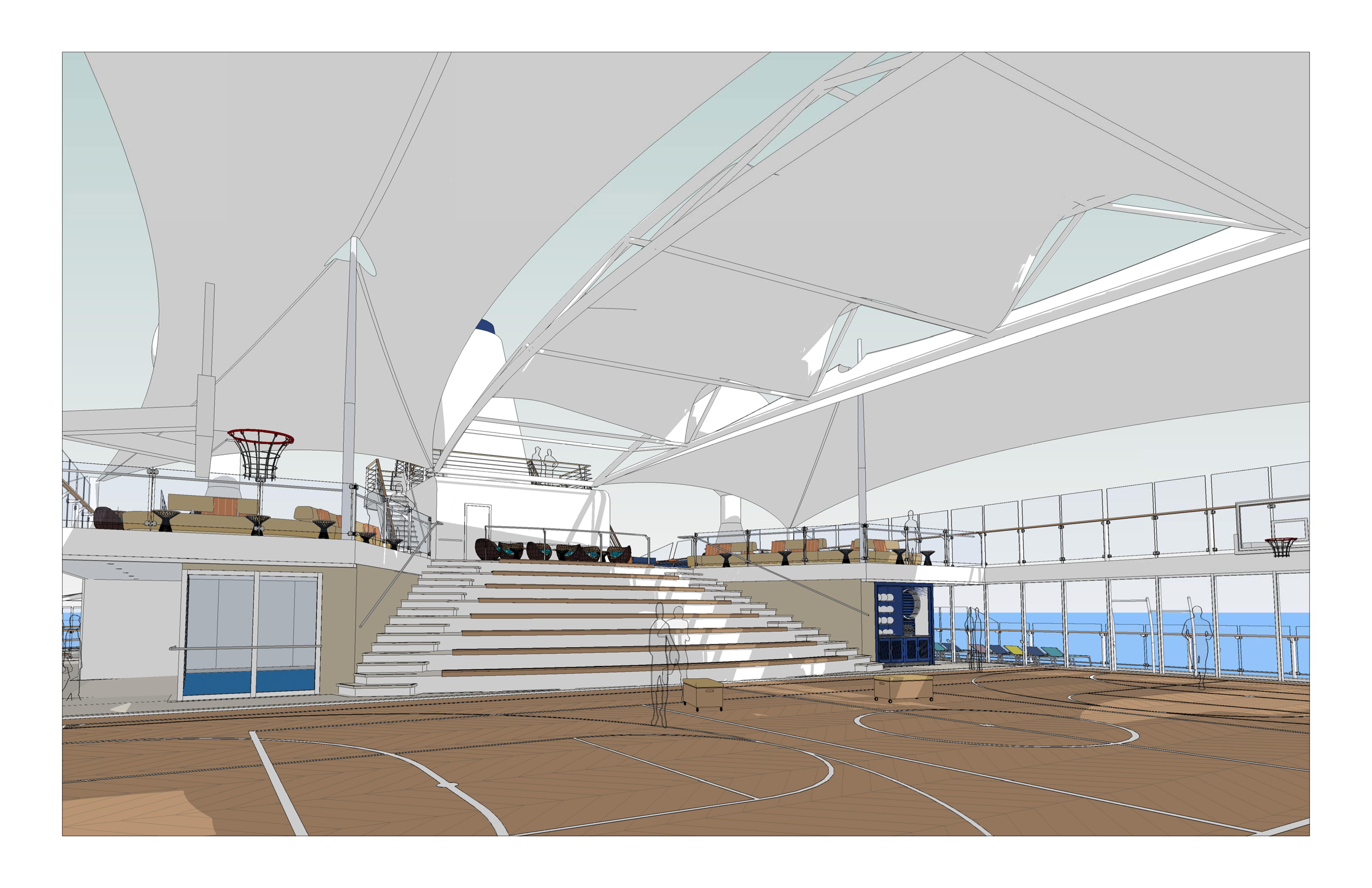 Sonnensegel über der Arena auf Deck 14