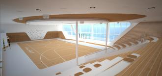 Die Arena mit Kletterwand auf der neuen Mein Schiff 1
