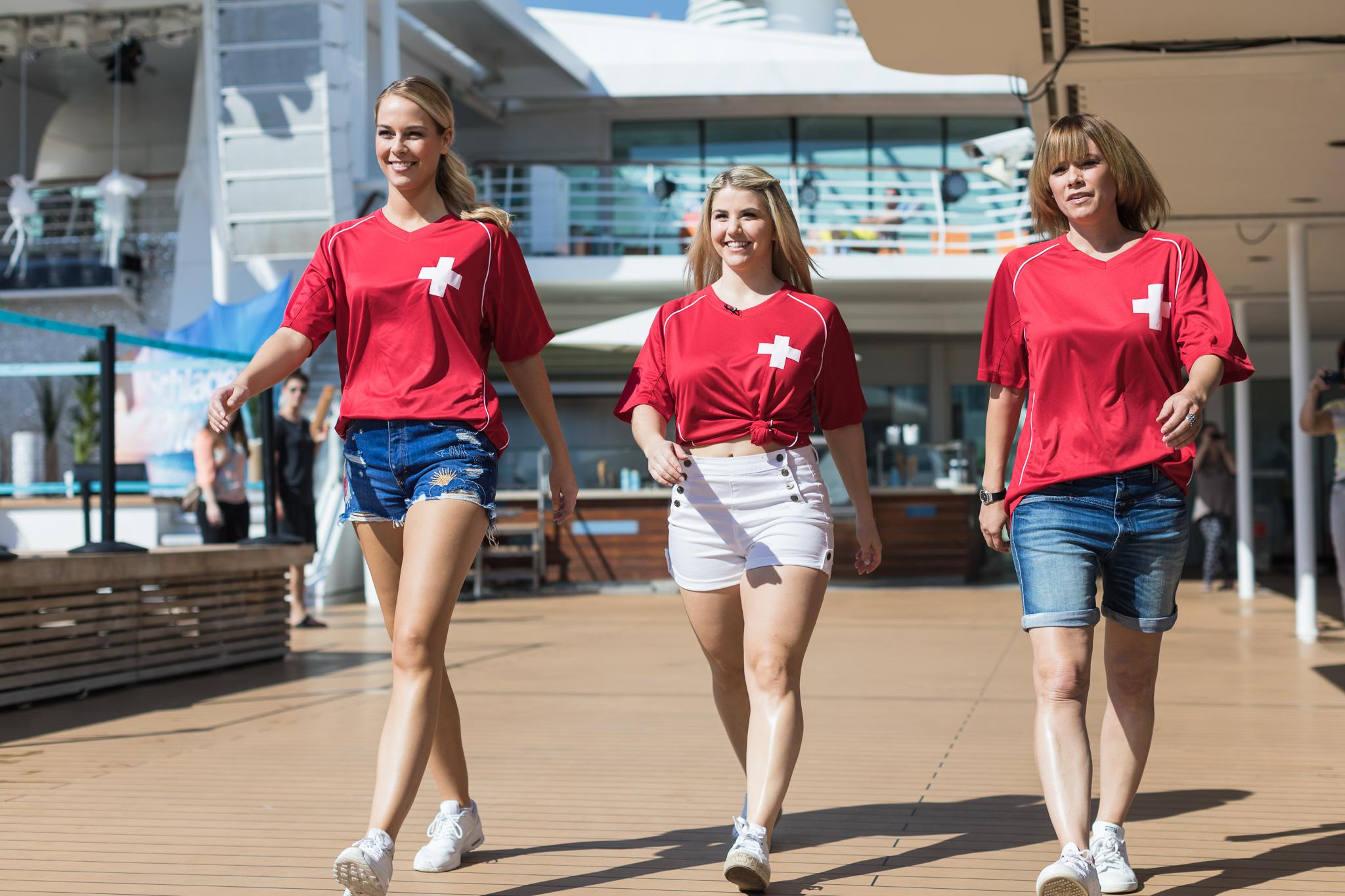 Team Schweiz bei der Schlager & Meer Kreuzfahrt mit der Mein Schiff 3: Linda Fäh, Beatrice Egli, Francine Jordi