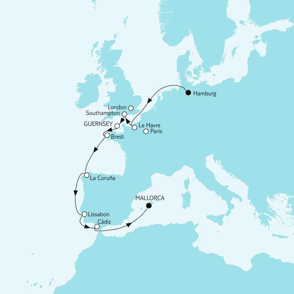 Mein Schiff Route: Hamburg trifft Mallorca
