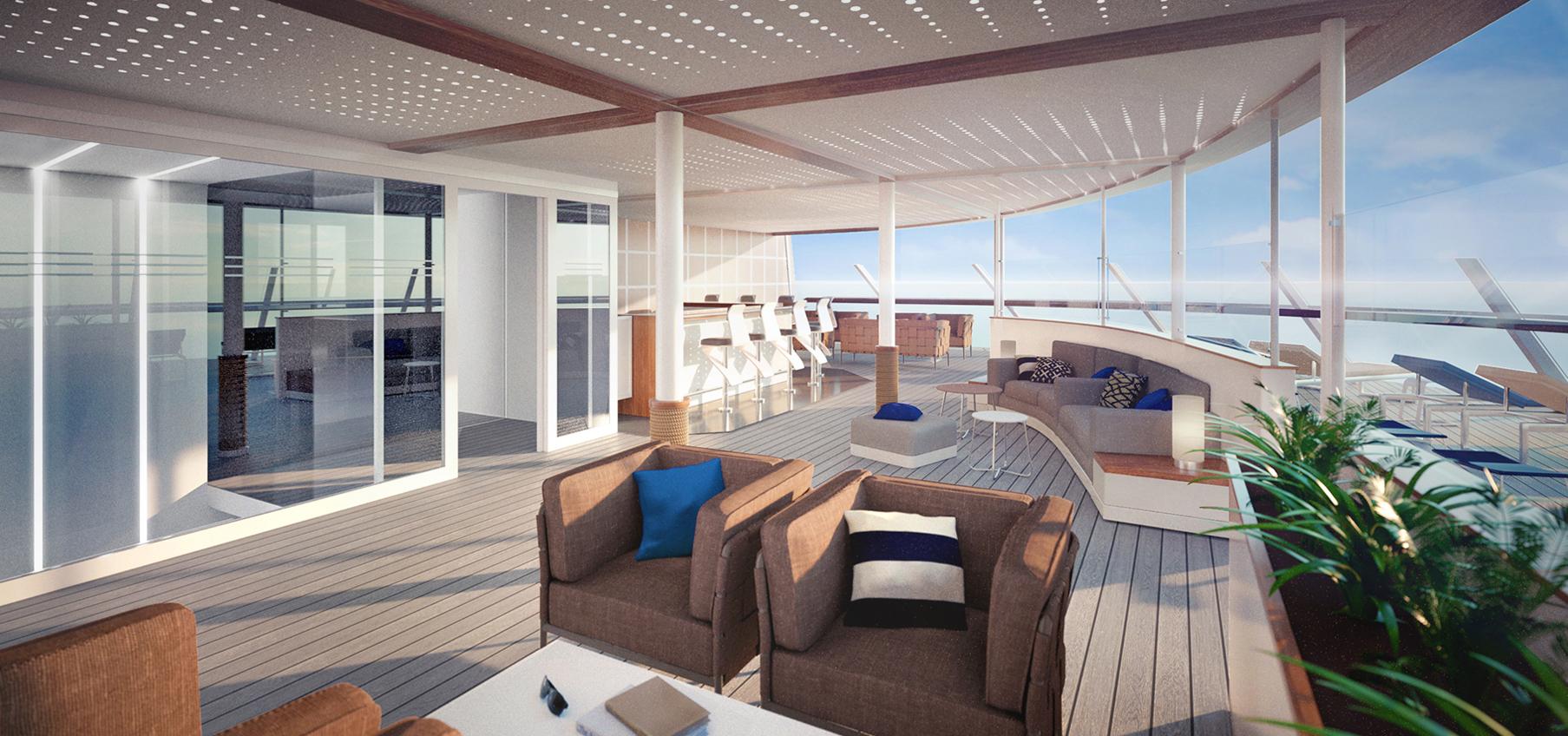 Das neue X-Lounge Sonnendeck auf Deck 15