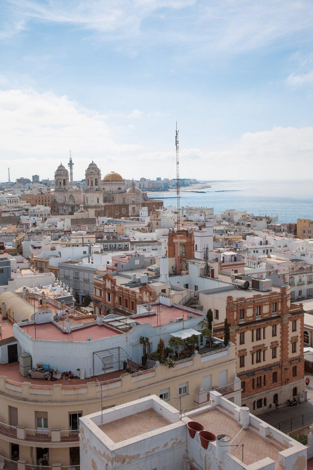 Ausblik aus dem Turm Torre Tavira in Cádiz