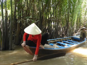 Das Fortbewegungsmittel der Wahl im Mekongdelta ist das Sampan-Boot