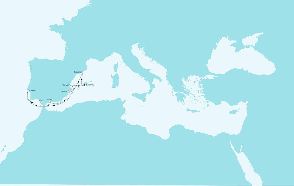 """Mein Schiff Route """"Mittelmeer mit Lissabon"""""""