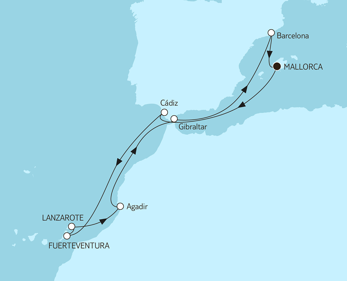 Die Reiseroute: Mittelmeer mit Kanaren