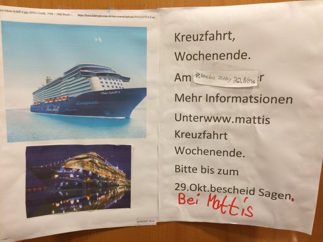 Einladung von Mein Schiff Fan Mattis