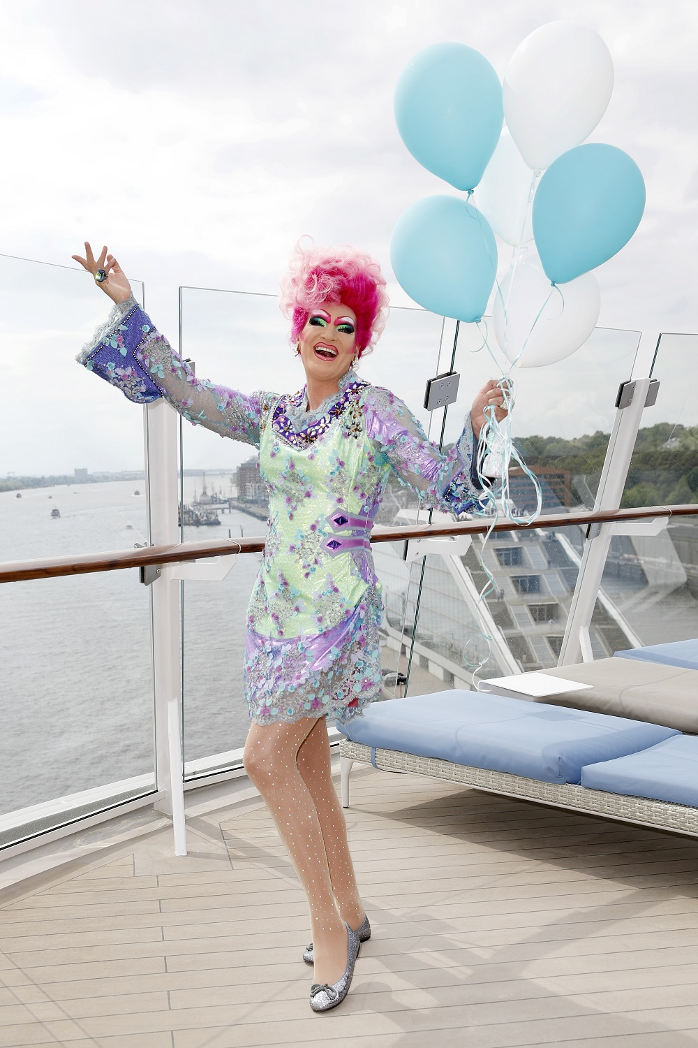 Stammgast bei Mein Schiff Taufen: Olivia Jones (Photo by Franziska Krug/Getty Images for TUI Cruises)