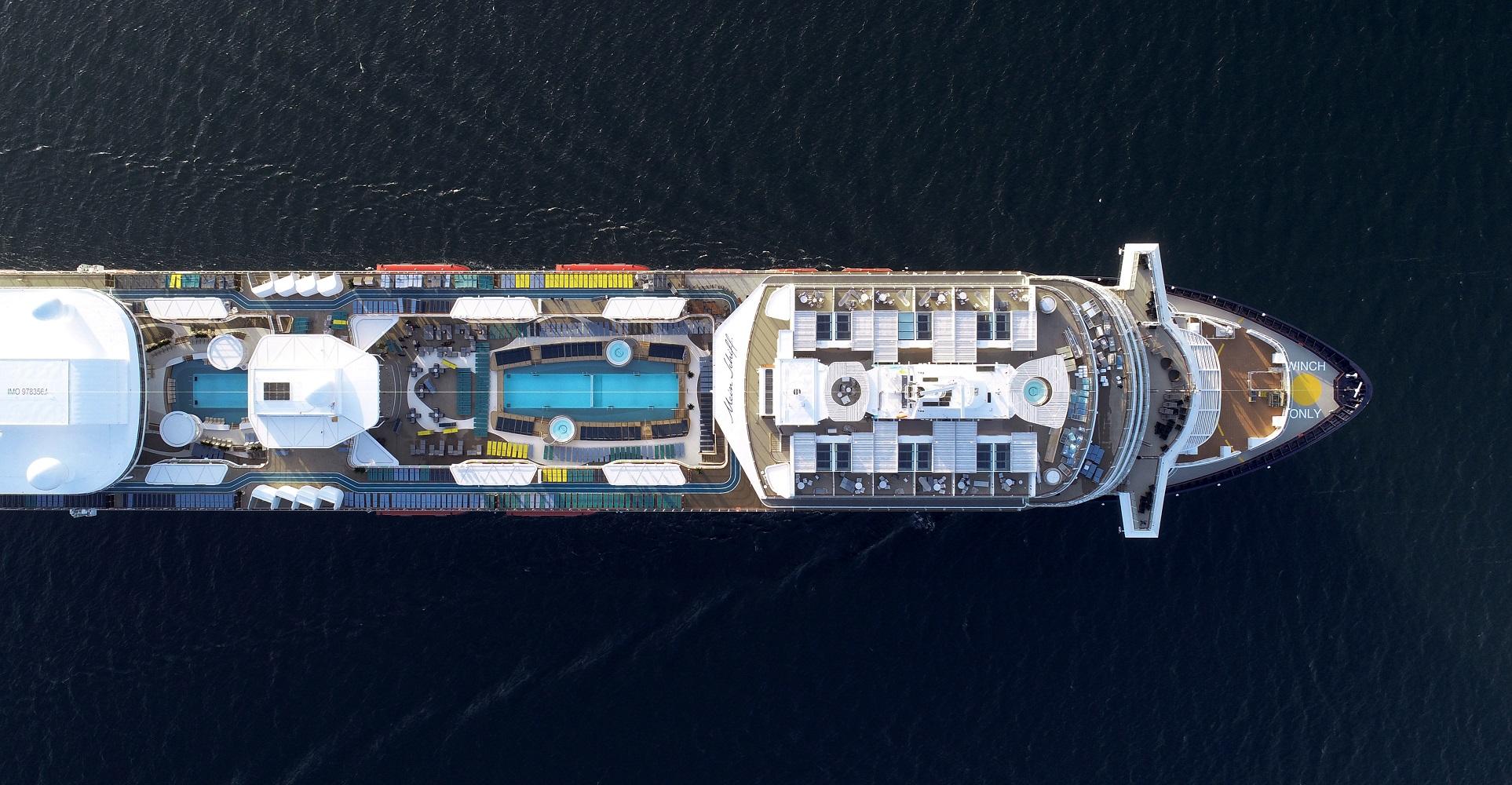 Die neue Mein Schiff 1 von oben