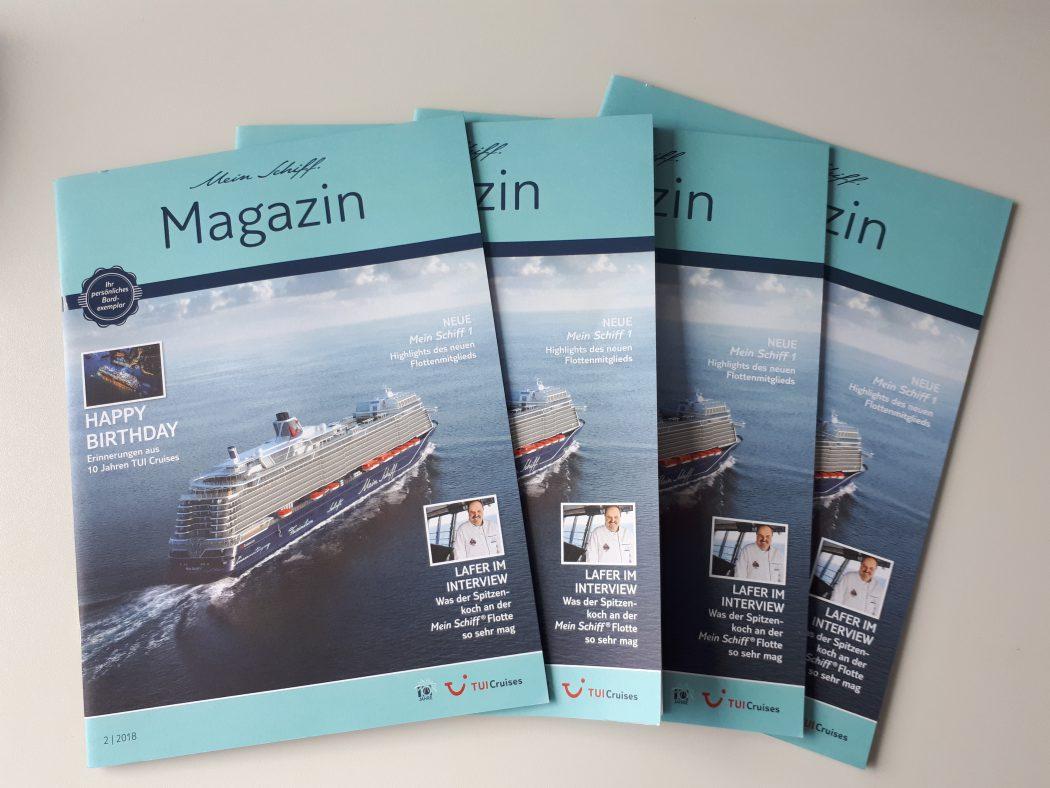 Das Mein Schiff Magazin ist kostenfrei im TUI Cruises Online Shop erhältlich