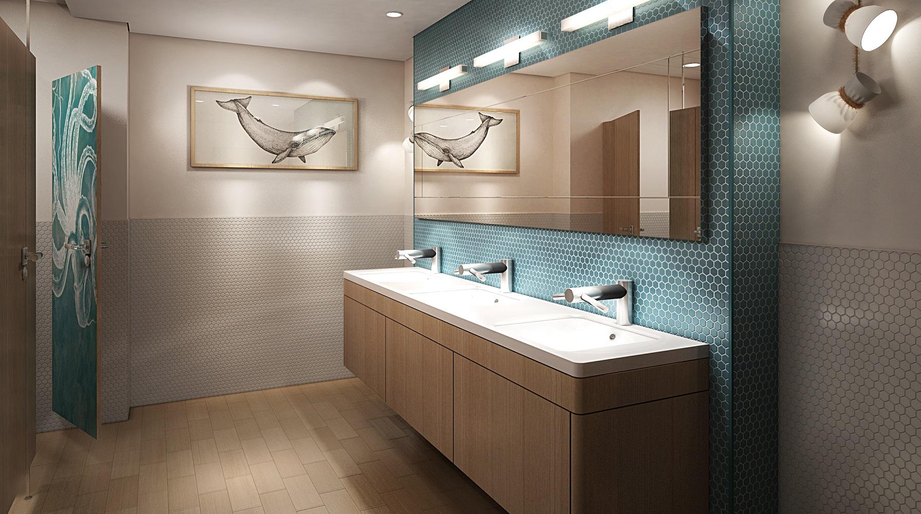 Design von Tillnerg: Die Pooldeck Toiletten auf der neuen Mein Schiff 2 von TUI Cruises
