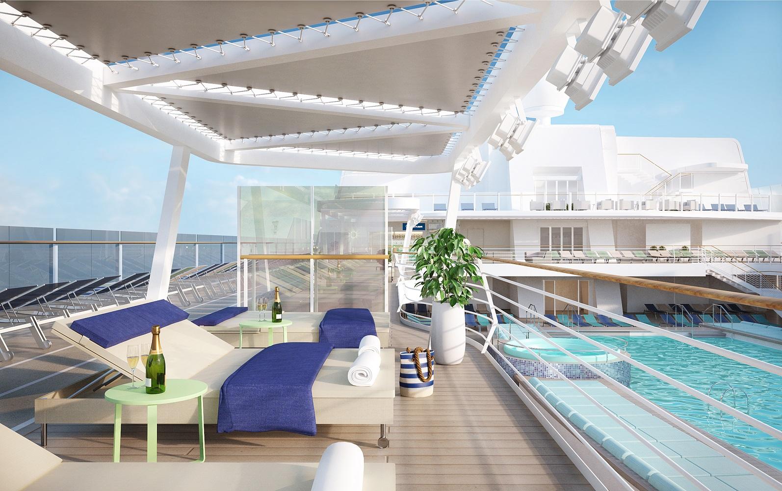 Design von Tillnerg: Das Pooldeck auf der neuen Mein Schiff 2 von TUI Cruises