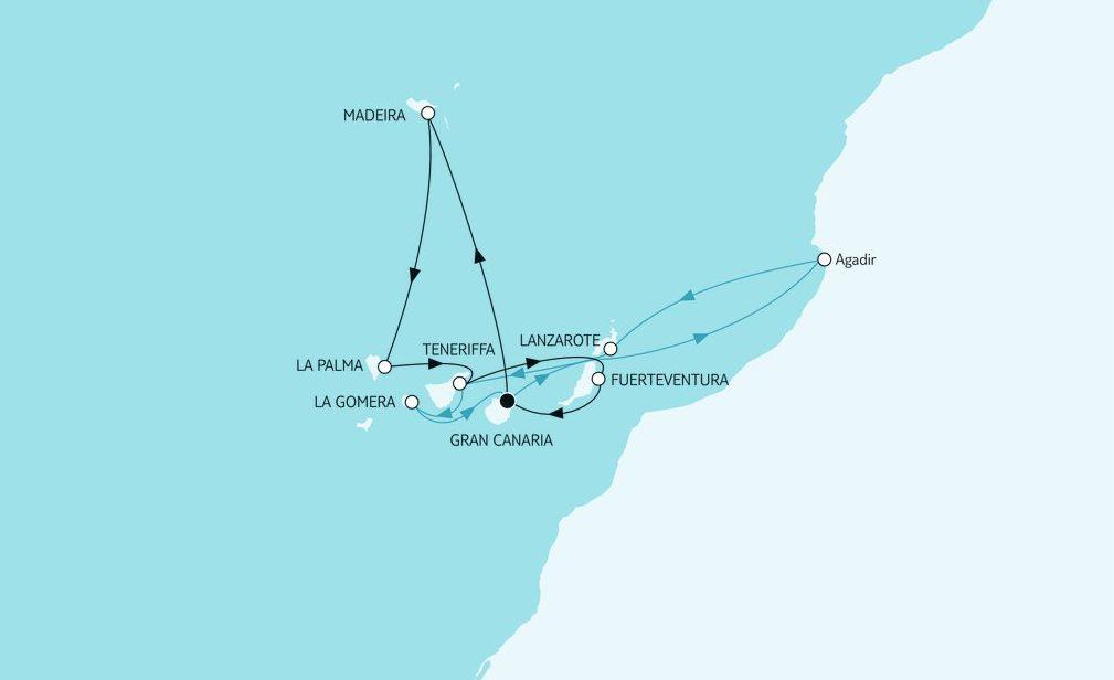 Mein Schiff Reiseroute: Kanaren mit Madeira & Lanzarote Winter 2018-2019