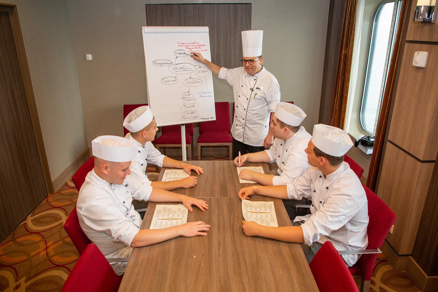 Theorieunterricht bei der Kochausbildung auf der Mein Schiff Flotte