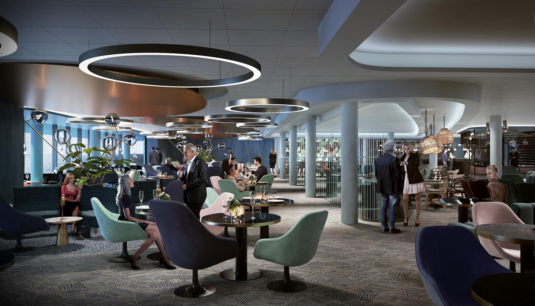 Von Aisslinger designt: die Schau Bar der neuen Mein Schiff 2 von TUI Cruises
