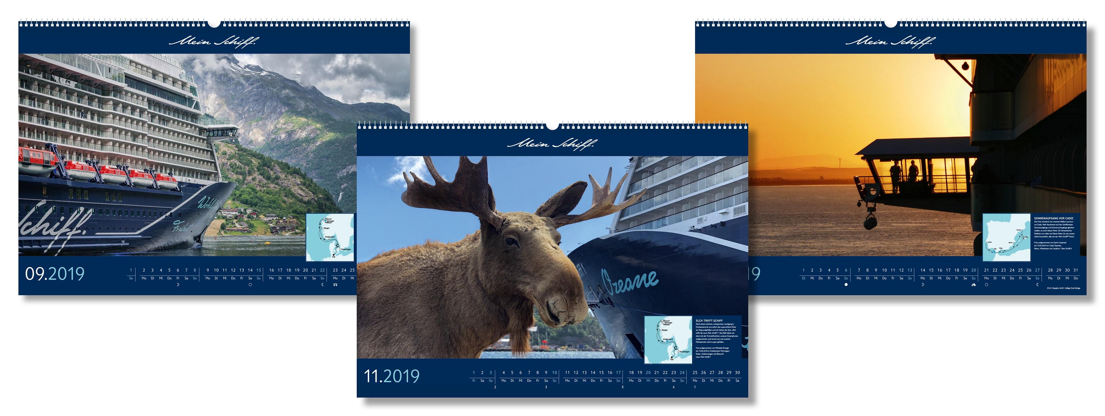 Der Mein Schiff Kalender 2019 von TUI Cruises